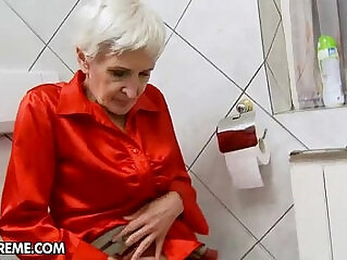 Hairy granny her pussy fucked by a young stud